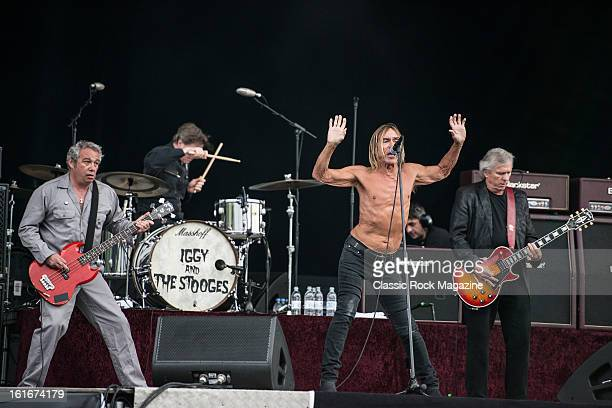 Mike Watt Toby Dammit Iggy Pop and James Williamson of American rock band Iggy and The Stooges performing live onstage at Hard Rock Calling Festival...