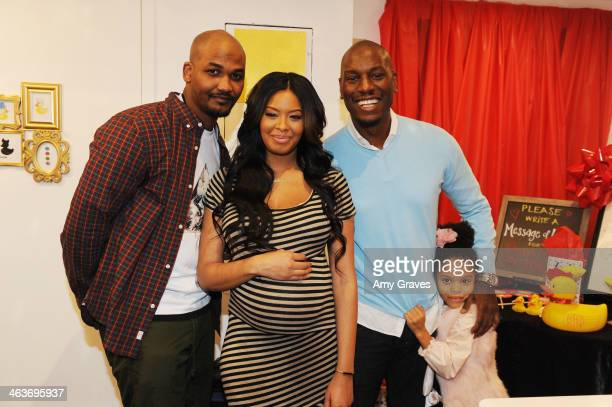 Mike Wayans Vanessa Simmons and Tyrese Gibson attend Vanessa Simmons Baby Shower at Sugar Factory Hollywood on January 18 2014 in Los Angeles...