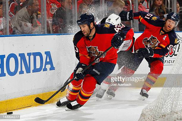 Mike Weaver of the Florida Panthers skates after a loose puck against the New Jersey Devils in Game Five of the Eastern Conference Quarterfinals...