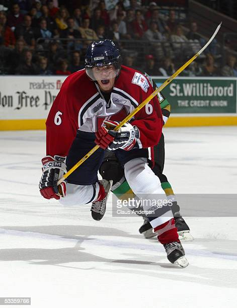 Mike Weber of the Windsor Spitfires skates during a Ontario Hockey League game against the London Knights at the John Labatt Centre on October 8 2004...