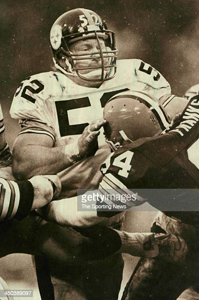 Mike Webster of Pittsburgh Steelers blocks against the Cleveland Browns circa 1981 in Pittsburgh Pennsylvania Webster played for the Steelers from...