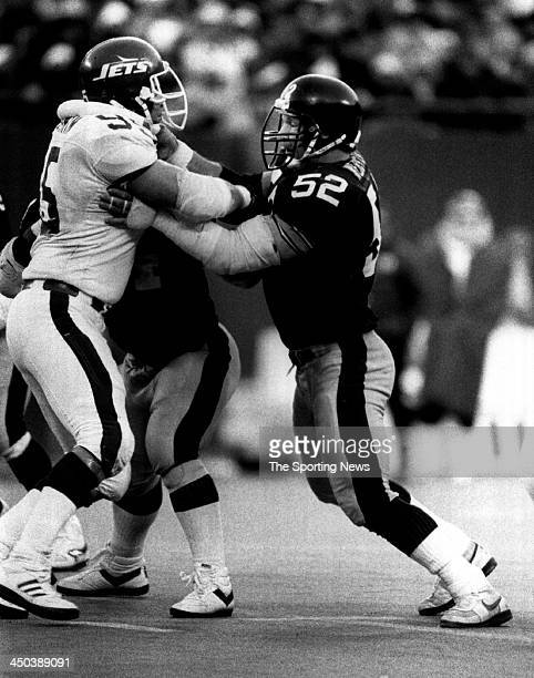 Mike Webster of Pittsburgh Steelers blocks against the New York Jets on December 13 1986 at Giants Stadium in East Rutherford New Jersey The Steelers...