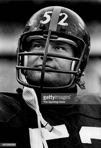 Mike Webster of Pittsburgh Steelers looks on during a game circa 1977 in Pittsburgh Pennsylvania Webster played for the Steelers from 197488