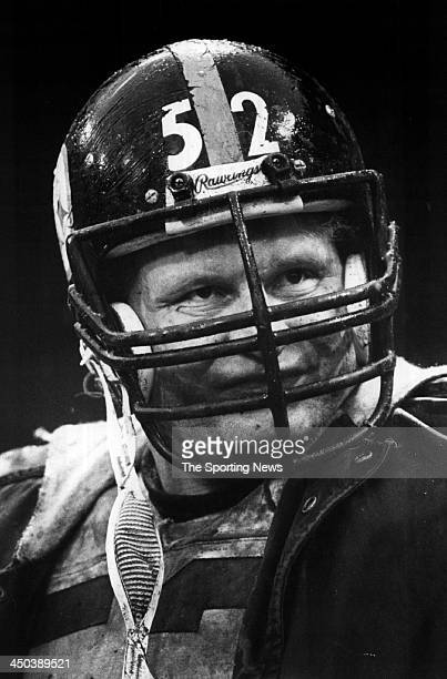 Mike Webster of Pittsburgh Steelers looks on during a game circa 1982 at Three Rivers Stadium in Pittsburgh Pennsylvania Webster played for the...