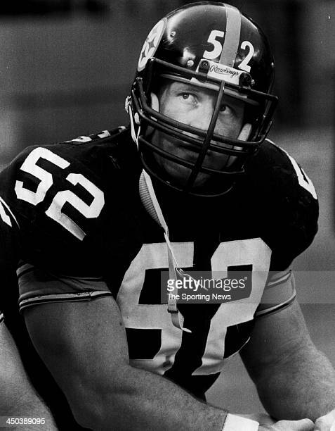 Mike Webster of Pittsburgh Steelers looks on during a game circa 1983 in Pittsburgh Pennsylvania Webster played for the Steelers from 197488