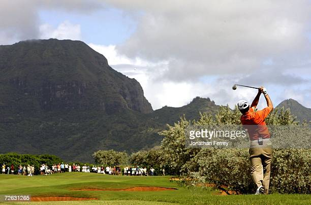 Mike Weir hits his second shot on the 2nd hole during the final round of the PGA Grand Slam of Golf on November 22 2006 at the Poipu Bay Golf Course...