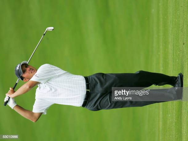 Mike Weir hits his second shot on the 9th hole during the first round of The Memorial on June 2 2005 at Muirfield Village Golf Club in Dublin Ohio