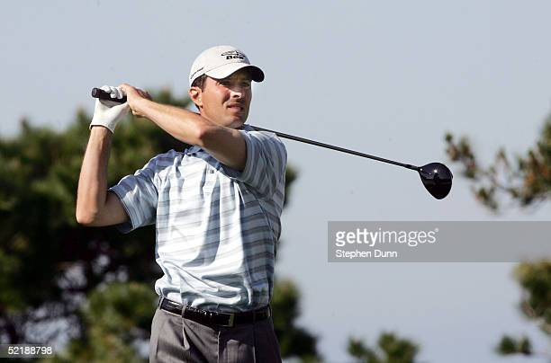 Mike Weir hits his tee shot on the 6th hole during the third round of the AT&T Pebble Beach National Pro-Am on Spyglass Hill Golf Course on February...