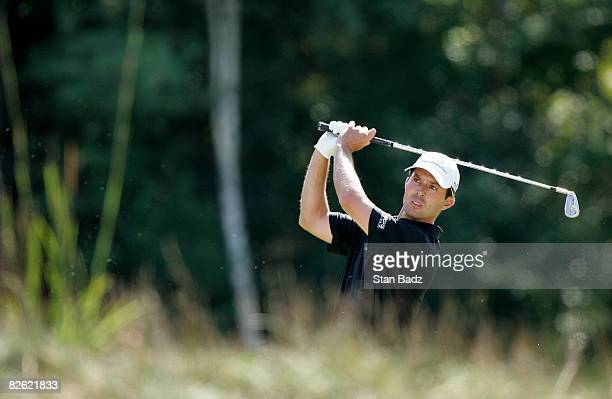 Mike Weir hits to the fifth green during the final round of the Deutsche Bank Championship held at TPC Boston on September 1, 2008 in Norton,...
