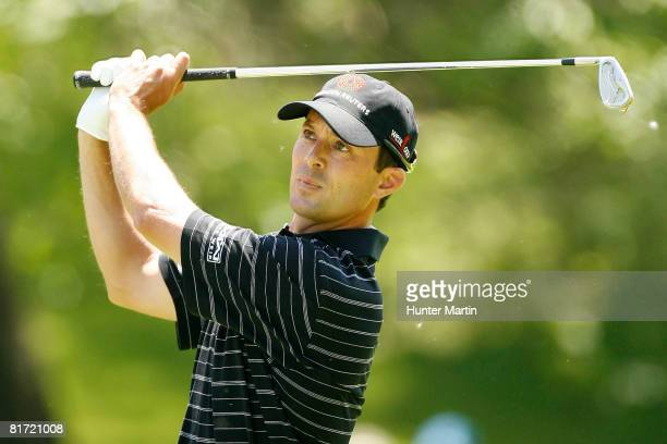 Mike Weir of Canada hits a shot during the final round of the Memorial Tournament at Muirfield Village Golf Club on June 1 2008 in Dublin Ohio