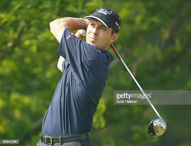 Mike Weir of Canada hits a shot during the proam prior to the start of the Buick Classic at the Westchester Country Club on June 9 2004 in Harrison...