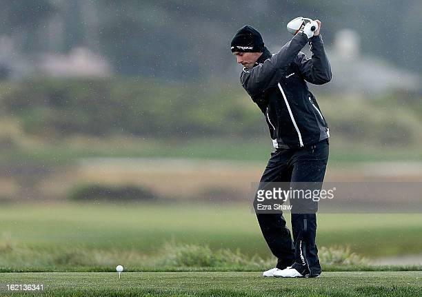 Mike Weir of Canada hits a shot during the second round of the ATT Pebble Beach National ProAm at the Monterey Peninsula Country Club on February 8...