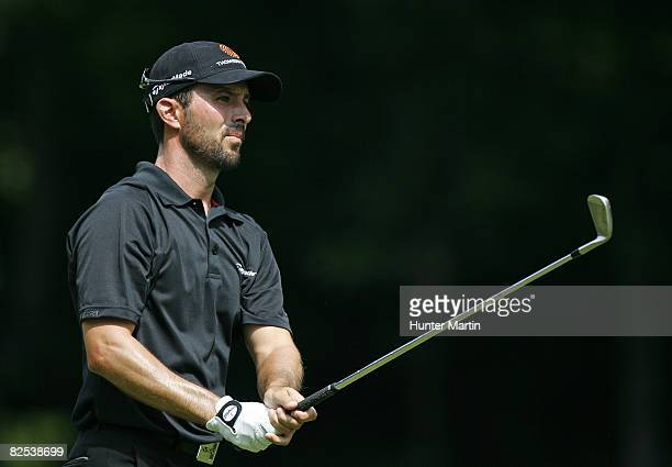 Mike Weir of Canada hits his second shot on the 3rd hole during the final round of The Barclays at Ridgewood Country Club on August 24 2008 in...