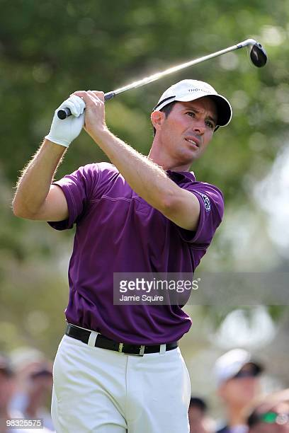 Mike Weir of Canada hits his tee shot on the fourth hole during the first round of the 2010 Masters Tournament at Augusta National Golf Club on April...