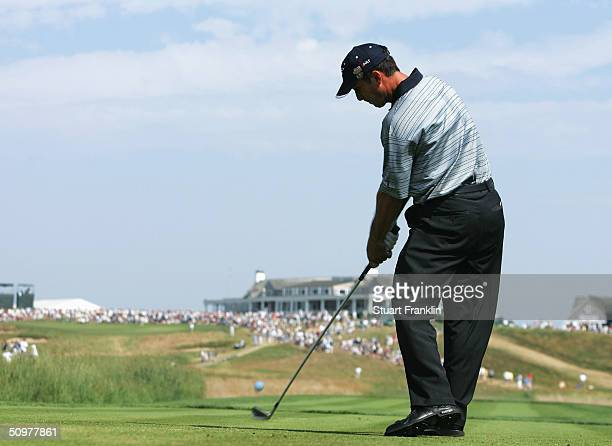 Mike Weir of Canada hits his tee shot on the ninth hole during the third round the 104th U.S. Open at Shinnecock Hills Golf Club on June 19, 2004 in...