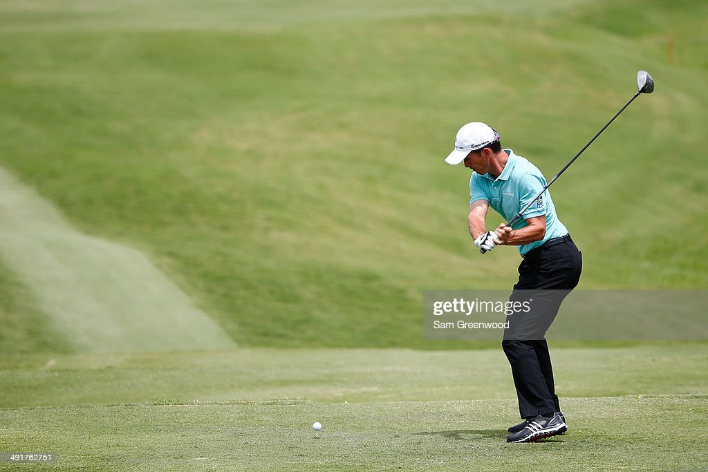 Mike Weir of Canada plays his tee shot on the second hole during the third round of the HP Byron Nelson Championship at the TPC Four Seasons on May 17, 2014 in Irving, Texas.