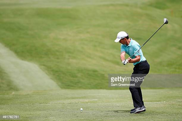Mike Weir of Canada plays his tee shot on the second hole during the third round of the HP Byron Nelson Championship at the TPC Four Seasons on May...