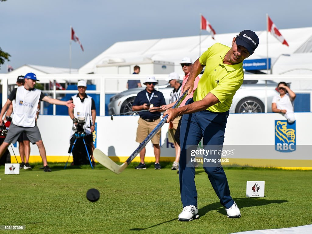 Mike Weir of Canada plays hockey during the championship pro-am of the RBC Canadian Open at Glen Abbey Golf Course on July 26, 2017 in Oakville, Ontario, Canada.