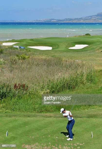 Mike Weir of Canada tees off on the 7th hole during day three of The Rocco Forte Open at Verdura Golf and Spa Resort on May 20 2017 in Sciacca Italy