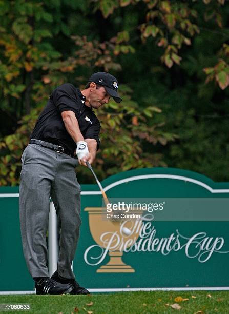 Mike Weir of the international team hits from the 18th tee during the first round of competition for The Presidents Cup on September 27, 2007 at The...