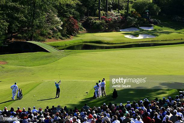 Mike Weir tees off on the 12 hole during the second round of the 2007 Masters Tournament at Augusta National Golf Club on April 6, 2007 in Augusta,...