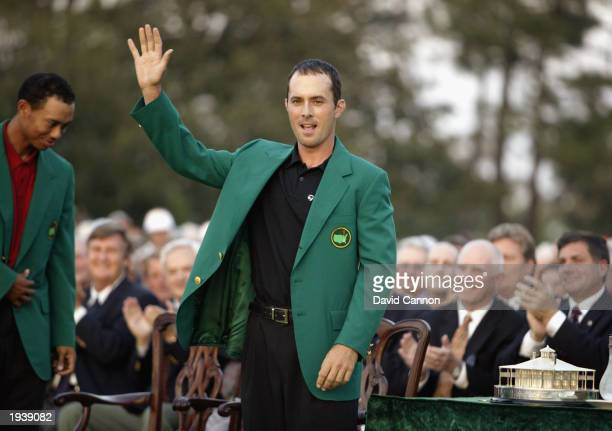 Mike Weir waves to the crowd after winning the 2003 Masters Tournament on April 13 2003 at the Augusta National Golf Club in Augusta Georgia