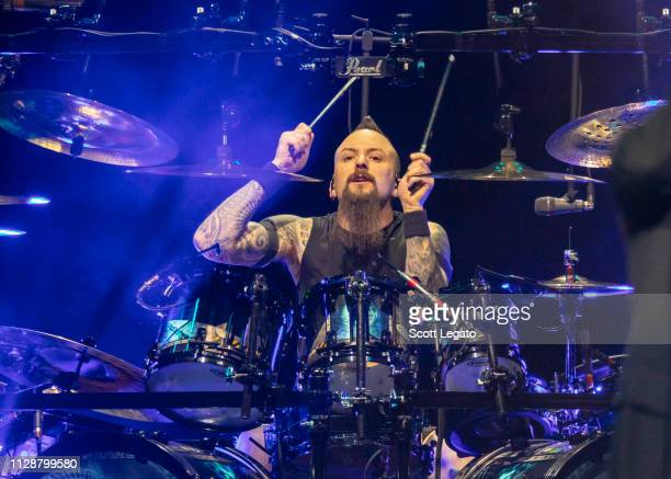 Mike Wengren of Disturbed performs at Little Caesars Arena on March 05 2019 in Detroit Michigan