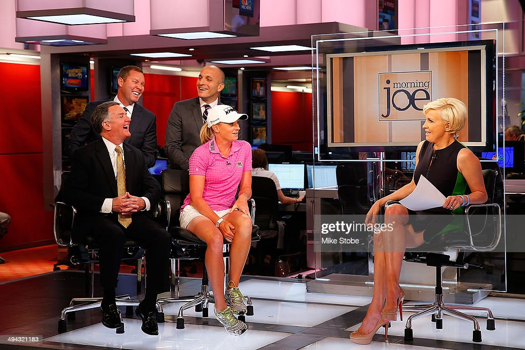 Mike Whan, Commissioner, LPGA Tour, John Veihmeyer, Chairman, KPMG, Stacy Lewis, LPGA Professional, Pete Bevacqua, CEO, PGA of America Mike McCarley, President, Golf Channel appear on MSNBC Morning Joe with Mika Brzezinski to announcement of KPMG Women's PGA Championship on May 29, 2014 at the NBC Studios in New York City.