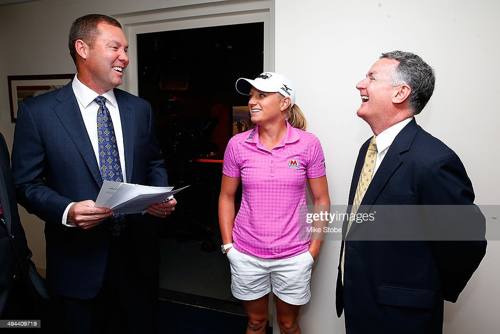 Mike Whan, Commissioner, LPGA Tour, John Veihmeyer, Chairman, KPMG, Stacy Lewis, LPGA Professional, wait in the green room prior to announcement of KPMG Women's PGA Championship on May 29, 2014 at the NBC Studios in New York City.