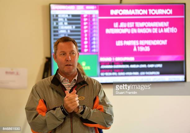 Mike Whan LPGA Commisioner explains to the media that the scores today will be scrapped and the first round will start on friday at The Evian...