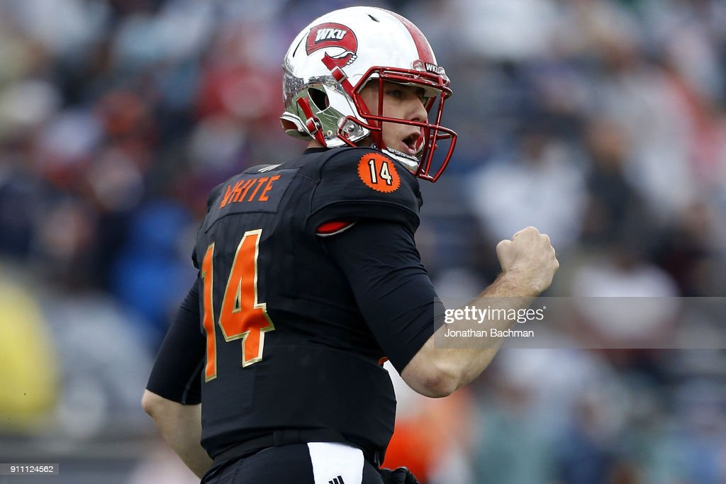 Mike White #14 of the South team celebrates a long pass during the first half of the Reese's Senior Bowl against the the North team at Ladd-Peebles Stadium on January 27, 2018 in Mobile, Alabama.