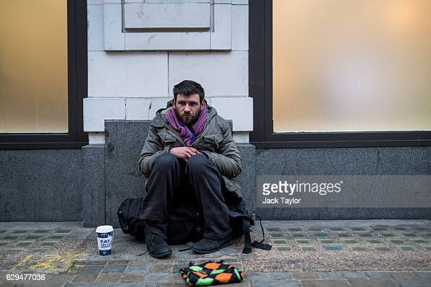 Mike who has been sleeping rough in London since coming down from Warrington for the Million Mask March demonstration is pictured on the Strand on...
