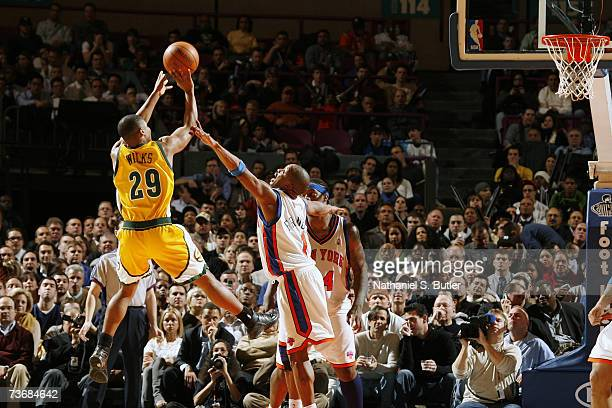 Mike Wilks of the Seattle SuperSonics shoots past Steve Francis of the New York Knicks at Madison Square Garden on March 6 2007 in New York City New...