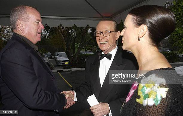 Mike Willesee with Brian Henderson and his wife Mardi at the Channel Nine predrinks party for Brian Henderson 'Toasted and Roasted' Special farwell...