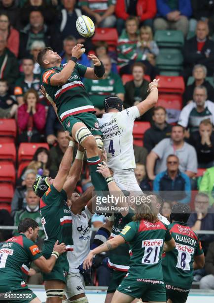 Mike Williams of Leicester drops the ball in the vital last minute llineout during the Aviva Premiership match between Leicester Tigers and Bath...
