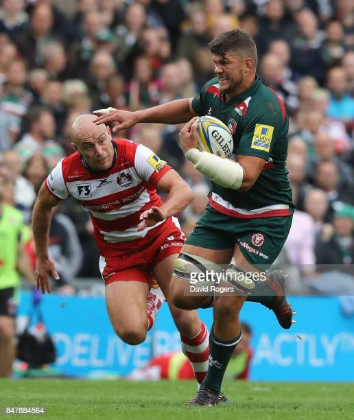 Mike Williams of Leicester moves away from Willi Heinz during the Aviva Premiership match between Leicester Tigers and Gloucester Rugby at Welford...
