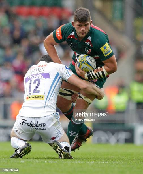 Mike Williams of Leicester Tigers and Ian Whitten of Exeter Chiefs during the Aviva Premiership match between Leicester Tigers and Exeter Chiefs at...