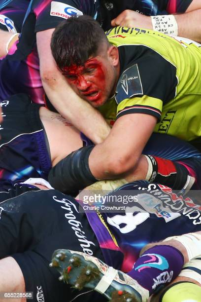 Mike Williams of Leicester Tigers battles for the ball during the AngloWelsh Cup Final between Exeter Chiefs and Leicester Tigers at the Twickenham...