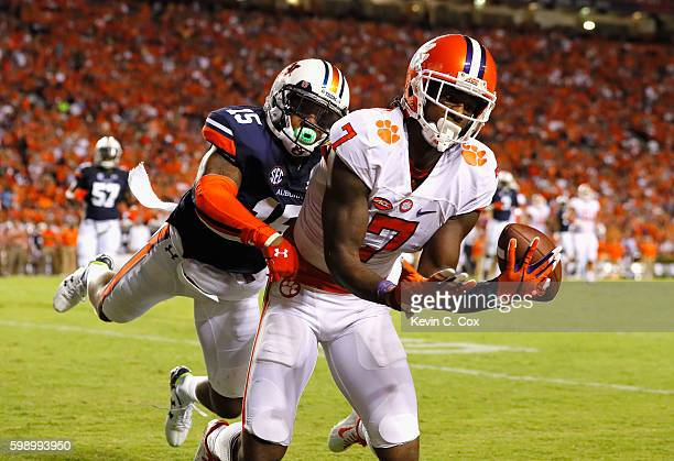 Mike Williams of the Clemson Tigers is unable to catch a touchdown pass against Joshua Holsey of the Auburn Tigers during the first half at Jordan...