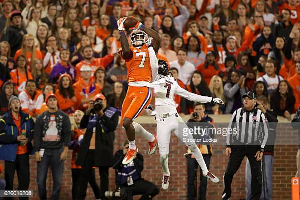 Mike Williams of the Clemson Tigers makes a touchdown catch over Jamarcus King of the South Carolina Gamecocks during their game at Memorial Stadium...