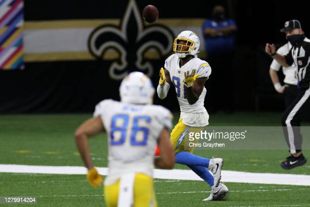 Mike Williams of the Los Angeles Chargers catches a 64-yard touchdown during their NFL game against the New Orleans Saints at Mercedes-Benz Superdome...