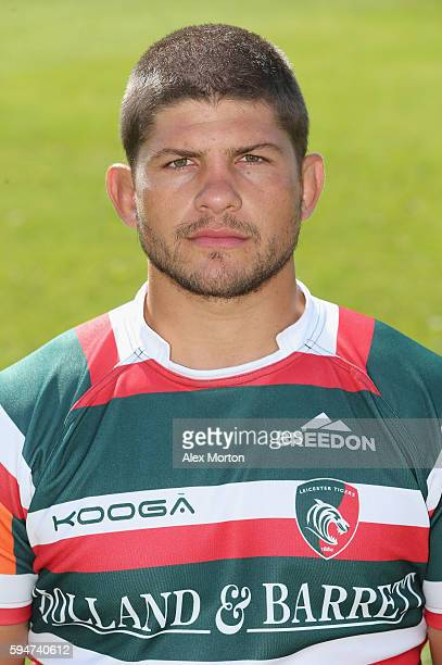 Mike Williams poses for a portrait during the Leicester Tigers squad photo call for the 20162017 Aviva Premiership Rugby season on August 24 2016 in...