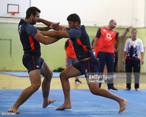 Mike Williams takes on Josh Beaumont of the England rugby team as they take part in a judo session as part of their general training programme at...
