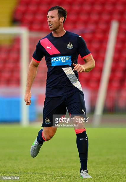 Mike Williamson of Newcastle in action during the pre season friendly between Gateshead and Newcastle United at Gateshead International Stadium on...