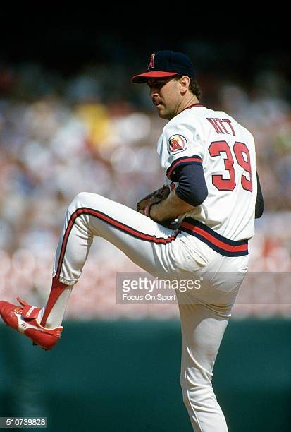 Mike Witt of the California Angels pitches during a Major League Baseball game circa 1986 at Anaheim Stadium in Anaheim California Witt played for...