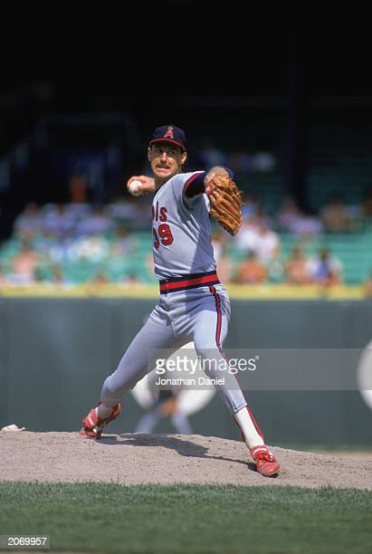 Mike Witt of the California Angels pitches during the 1988 season game at Anaheim Stadium in Anaheim California