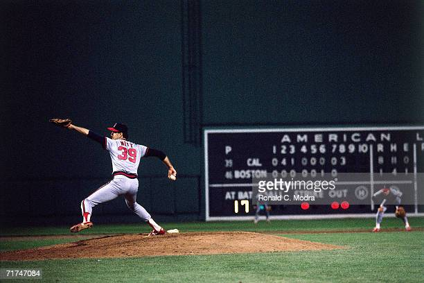 Mike Witt of the California Angels pitches to the Boston Red Sox during Game 1 of the American League Championship Series at Fenway Park on October 7...
