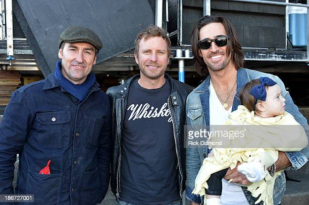 Mike Wolfe of American Pickers Musician Dierks Bentley Musician Jake Owen and his daughter Pearl attend Dierks Bentley's 8th annual Miles Music for...