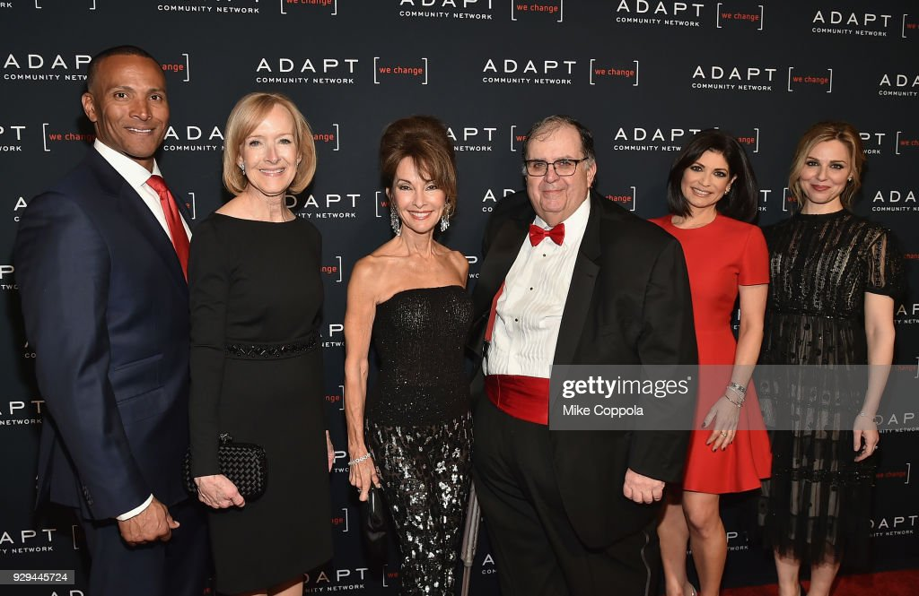 Mike Woods, Judy Woodruff, Susan Lucci, Ed Matthews, Tamsen Fadal, and Cara Buono attend the Adapt Leadership Awards Gala 2018 at Cipriani 42nd Street on March 8, 2018 in New York City.