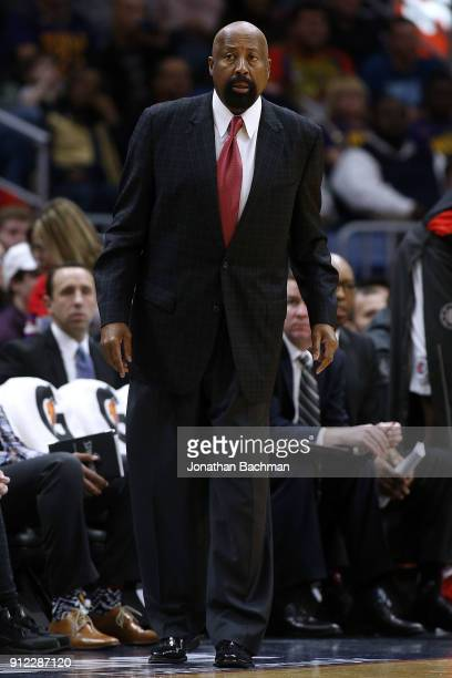 Mike Woodson assistant coach of the LA Clippers reacts druing the first half against the New Orleans Pelicans at the Smoothie King Center on January...